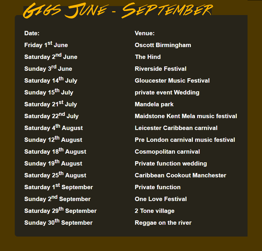 Gigs June - September 2018